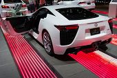 LOS ANGELES, CA - NOVEMBER 20: A Lexus LFA on exhibit at the Los Angeles Auto Show in Los Angeles, C