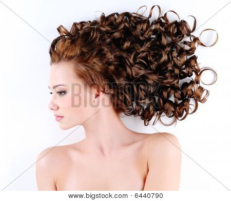 Woman With Beautiful Long Curly
