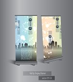 Roll-up with city background ready for use. Vector illustration.