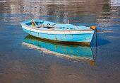 Fishing Boat In Greece In Sea Near The Beach.