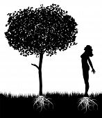 vector girl silhouette and nature