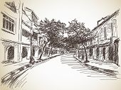 Town street sketch Vector illustration