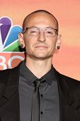LOS ANGELES - MAY 1:  Chester Bennington at the 1st iHeartRadio Music Awards Press Room at Shrine Au