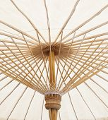 Under View Of Hand Craft Clothes Umbrella Structure Of Nothern Thailand Made From Bamboo Wood Thai O