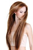 Woman With Beauty Long Straight Hairs