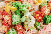 Popped  Color Kernels Of Pop Corn Snack
