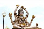 Beautiful statue of God Shiva at the entrance of Hindu temple