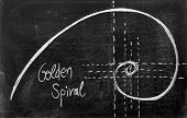 picture of fibonacci  - Fibonacci spiral and golden section on blackboard - JPG
