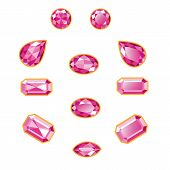 Pink Diamond Set Isolated Objects