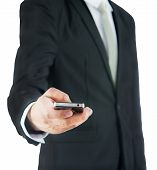 Businessman Standing Posture Hand Hold Phone Isolated