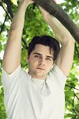 Attractive Young Man Hanging From Tree Branch