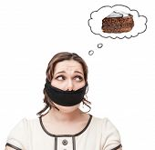 Gagged Plus Size Woman Dreaming About Cake