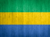 Gabon Flag On Wood Background