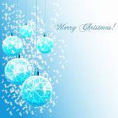 Happy New Year!Celebratory blue Christmas balls