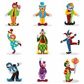 stock photo of circus clown  - A vector illustration of clown icons sets - JPG