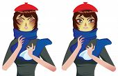 pic of influenza  - Cartoon woman in blue scarf suffering influenza and runny nose - JPG