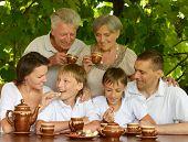 Happy family drinking tea