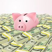 Piggybank in heap of money