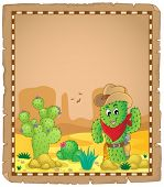 Parchment with cactus theme 1 - eps10 vector illustration.