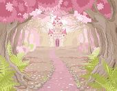 stock photo of fairy  - Fantasy landscape with magic fairy tale princess castle - JPG
