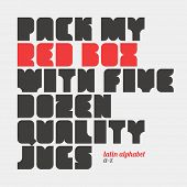 Pack my red box with five dozen quality jugs. Latin alphabet letters.