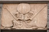Fragment Building Decorated With Frieze With Two Naked Warriors
