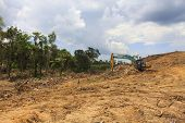 KUCHING, MALAYSIA - MAY 04 2014: Deforestation. Photo of tropical rainforest in Borneo being destroy