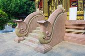 Stone Stairs And Handrail Of A Temple In Thailand