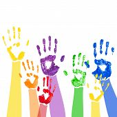 Vector background with multicolored paint hands