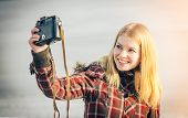 Blonde Woman Making Self Shot On Her Vintage Retro Camera Happy Smiling Hipster Lifestyle Winter Tim