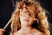 pic of little girls photo-models  - Portrait of pretty little girl with windy hair - JPG