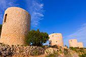 Javea Xabia Molins de la Plana old masonry windmills Alicante Spain