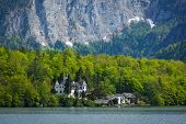 Castle at Hallstatter See mountain lake in Austria. Salzkammergut region, Austria