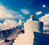 Vintage retro effect filtered hipster style travel image of Whitewashed chorten and Tsemo fort and g