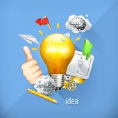 Idea concept, business brainstorming, vector illustration. Set is also suitable for mobile apps