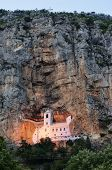 cave Ostrog Monastery night view, Montenegro