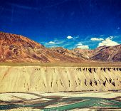 Vintage retro effect filtered hipster style travel image of Himalayan landscape in Hiamalayas near B