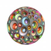 3D Techno Ball In Multiple Bright Colors On White