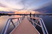 stock photo of pontoon boat  - Sundown at Saratoga with the new jetty wharf and pontoon in the foreground - JPG