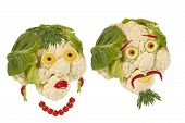 Creative Food. Portrait Two Old Man Made of Vegetables And Fruits
