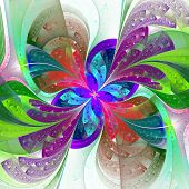 Multicolor Beautiful Fractal Flower On White Background. Computer Generated Graphics.