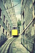 Funicular in Lisbon, Portugal. Retro styled image.