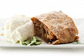 Apple Strudel with Nuts Served with Ice Cream