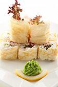 Maki Sushi - Roll made of Salad Leaf, Tobiko and Cream Cheese inside. Pancake outside