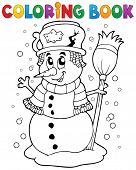 Coloring book snowman theme 1 - eps10 vector illustration.