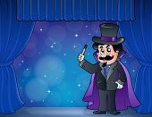 Magician on wide stage - eps10 vector illustration.