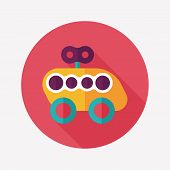 Toy Car Flat Icon With Long Shadow