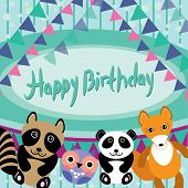 Funny Animals. Owl, Fox, Raccoon, Panda. Happy Birthday Card.