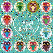 Funny Colorful Owls On A Turquoise Background. Heart. Happy Birthday
