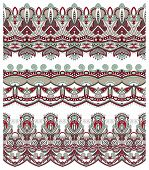 seamless ethnic floral paisley stripe pattern, border set, ukrai